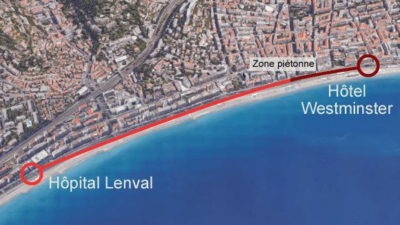 Le parcours du camion utilisé lors de l'attentat de Nice sur la promenade des Anglais, jeudi 14 juillet, et la délimination de la zone interdite à la circulation. (FRANCETV INFO)