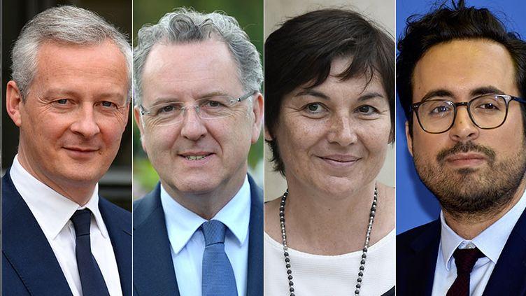 Marielle de Sarnez, Bruno Le Maire, Richard Ferrand, Annick Girardin, Mounir Mahjoubi et Christophe Castaner sont les six membres du gouvernement candidatsaux législatives. (AFP)