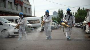 Des membres de l'équipe Beijing Blue Sky Rescue procèdent à la désinfection du marché de gros de Yuegezhuang à Pékin, en Chine, le 16 juin 2020. (CHEN ZHONGHAO / XINHUA / AFP)