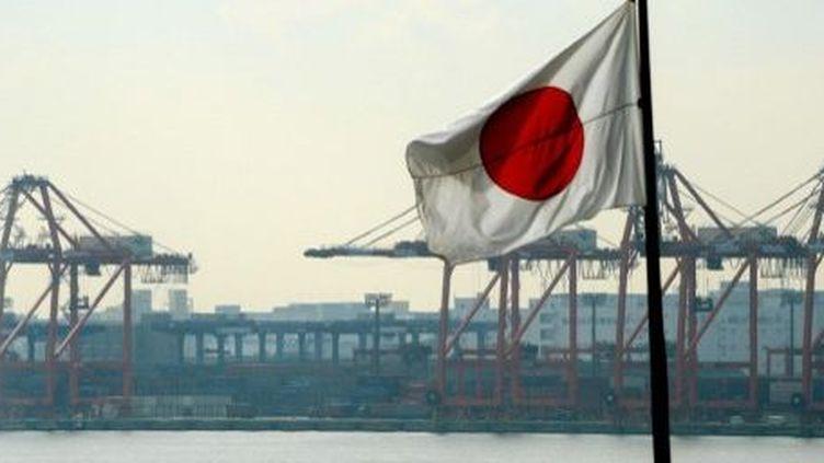 Le drapeau japonais flotte devant le quai à conteneurs du port de Tokyo, le 24 Janvier 2013. (AFP PHOTO / TOSHIFUMI KITAMURA )