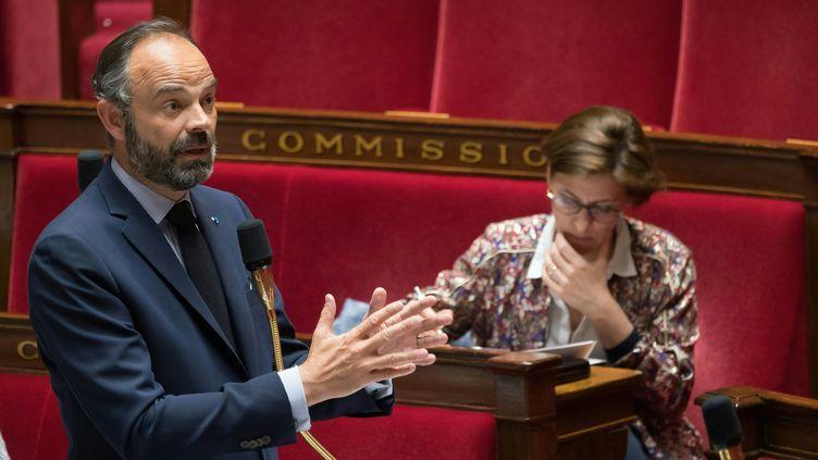 Le Premier ministre Edouard Philippe le 21 avril 2020 à l'Assemblée nationale, à Paris, lors d'une séance de questions au gouvernement. (JACQUES WITT / AFP)