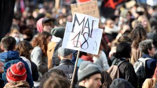 Dans la manifestation des fonctionnaires et des étudiants à Toulouse, le 22 mars 2018. (MAXPPP)