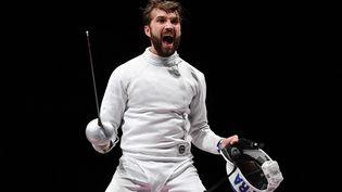 La joie de Romain Cannone lors de son sacre olympique dimanche lors des Jeux Olympiques de Tokyo. (MOHD RASFAN / AFP)
