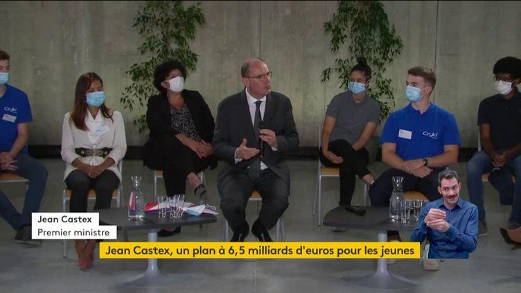 """Le Premier ministre Jean Castex lors de la présentation du """"plan jeunes"""" du gouvernement, le 23 juillet 2020 à Besançon (Doubs). (FRANCEINFO)"""