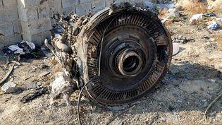 Des restes du Boeing 737 ukrainien abattu par des missiles iranien, à Téhéran, le 19 janvier 2020. (SOCIAL MEDIA / REUTERS)