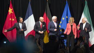 Le Chinois Wang Yi, le Français Laurent Fabius, l'Allemand Frank-Walter Steinmeier, la représentante de l'UEFederica Mogheriniet l'Iranien Mohammad Javad Zarif à Vienne (Autriche), le 14 juillet 2015. (JOE KLAMAR / AFP)