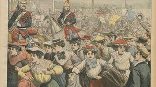 """La une du quotidien """"Le Petit journal"""" du 8 novembre 1903 titré """"La course des midinettes"""". (LE PETIT JOURNAL / RETRONEWS-BNF / AFP)"""