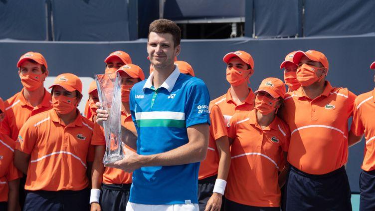 Le Polonais Hubert Hurkacz remporte son premier Masters 1000 à Miami à 24 ans. (MICHELE EVE SANDBERG / ICON SPORTSWIRE)