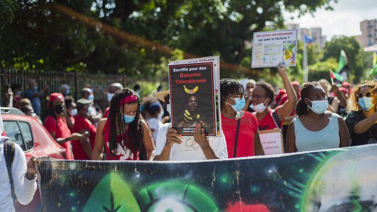 Des manifestantsprotestent contre la possible prescription dans l'affaire du chlordécone,à Fort-de-France (Martinique) le 27 février 2021. (LIONEL CHAMOISEAU / AFP)