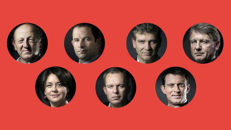 Les sept candidats à la primaire de la gauche. De gauche à droite et de haut en bas : Jean-Luc Bennahmias, Benoît Hamon, Arnaud Montebourg, Vincent Peillon, Sylvia Pinel, François de Rugy et Manuel Valls. (Stéphanie Berlu - Radio France)