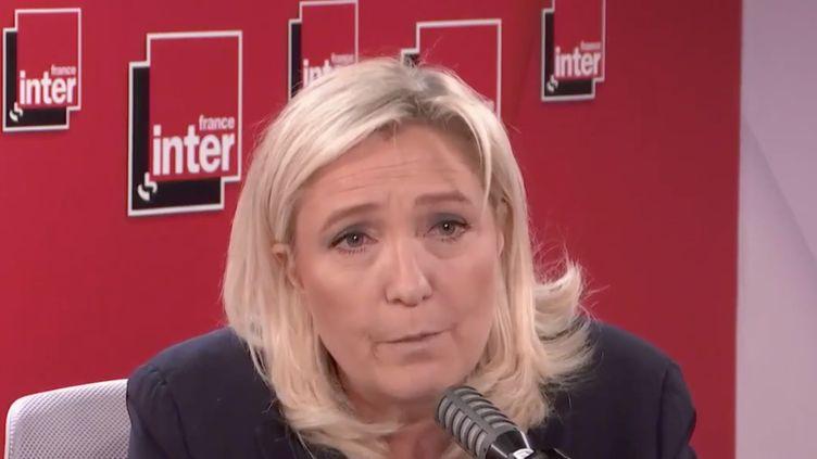 Marine Le Pen, présidente du Rassemblement national, était l'invitée de France Inter mercredi 10 juin 2020. (FRANCE INTER / RADIO FRANCE)