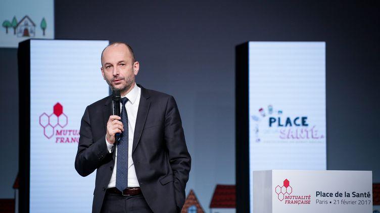 ThierryBeaudet, le président du groupe mutualisteVYV, au Palais Brogniart à Paris, le 21 février 2017. (THOMAS PADILLA / MAXPPP)