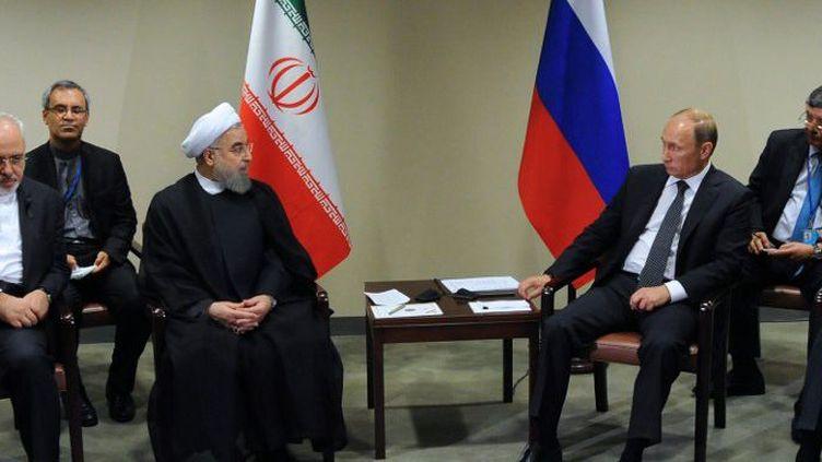 Le président iranien Hassan Rohani et le président russe Vladimir Poutine ont affiché «un bon consensus sur les questions régionales», le 28 septembre 2015 à New York, en marge de l'assemblée générale de l'ONU. (Michael Klimentyev/RIA Novosti)