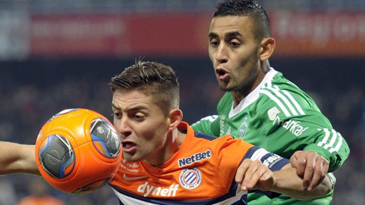 Ghoulam (ASSE) face à Mounier (Montpellier) (PASCAL GUYOT / AFP)