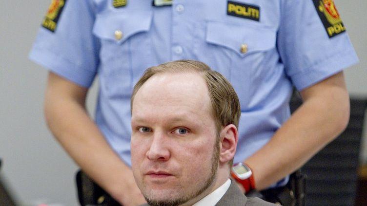 Anders Behring Breivik lors de son procès à Oslo, en Norvège, le 6 juin 2012. (STIAN LYSBERG SOLUM / AFP )