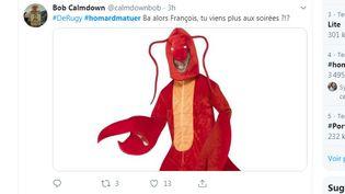 Une capture d'écran, le 10 juillet 2019, d'un tweet moquant François de Rugy et ses dîners luxueux organisés à l'hôtel de Lassay quand il était président de l'Assemblée nationale. (TWITTER / FRANCEINFO)