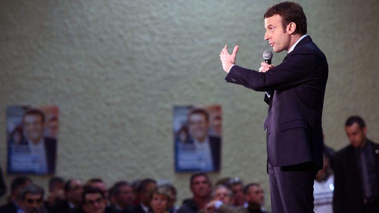 Emmanuel Macron en meeting à Souillac (Lot), le 24 février 2017, lors de la campagne présidentielle. (ERIC CABANIS / AFP)
