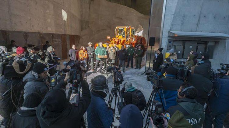 (Le maire de New York, Bill de Blasio, a donné une conférence de presse pour alerter le public © Richard B. Levine/NEWSCOM/SIPA)