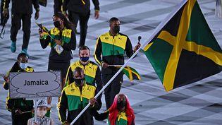 La Jamaïque,lors de la parade des nations, à la cérémonie d'ouverture des Jeux olympiques de Tokyo, au Stade olympique de Tokyo (Japon), le 23 juillet 2021. (BEN STANSALL / AFP)