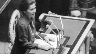 Simone Veil, ministre de la Santé, défend la légalisation de l'avortement, à l'Assemblée nationale, le 26 novembre 1974. (AFP)