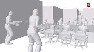 """Capture d'écran montrant une image de synthèse des assaillants dasn la salle de rédaction de """"Charlie Hebdo"""" ( FRANCE 2)"""