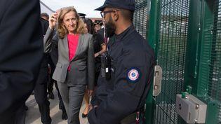 La ministre de la Justice, Nicole Belloubet, lors d'une visite de la nouvelle prison d'Aix-en-Provence (Bouches-du-Rhône), le 18 octobre 2018. (GERARD JULIEN / AFP)