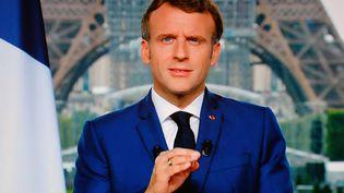 L'allocution du président de la République Emmanuel Macron à la radio et à la télé, le 12 juillet 2021. (LUDOVIC MARIN / AFP)