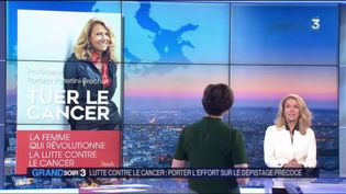 La cancérologue Patrizia Paterlini-Bréchot et la couverture de son livre Tuer le cancer (France 3)