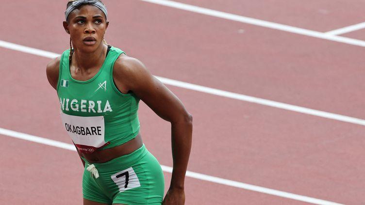Blessing Okagbare lors des séries du 100 mètres à Tokyo, le 30 juillet. (GIUSEPPE CACACE / AFP)