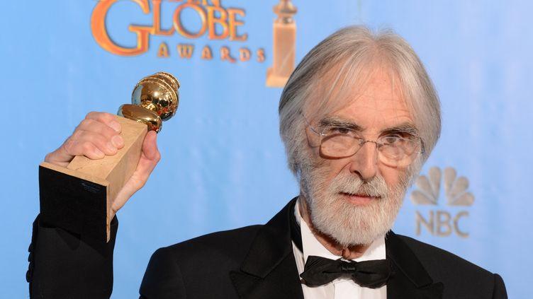 """Le réalisateur autrichien d'""""Amour"""",Michael Haneke, a remporté le 13 janvier 2013 le Golden Globe du meilleur film étranger à BeverlyHills (Californie). (ROBYN BECK / AFP)"""