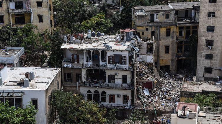 Des immeubles dans le quartier de Gemayzeh, une semaine aprèsles explosions du 4 août au port de Beyrouth, le 17 août 2020 (photo d'illustration). (ELIZABETH FITT / MAXPPP)