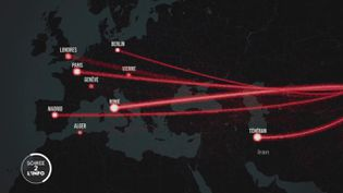 """""""Le trajet international du coronavirus recoupe la carte du transport aérien à l'échelle mondiale"""" (FRANCE 2)"""