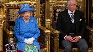 La reine Elizabeth II lors de son discours d'ouverture du Parlement britannique à Londres (Royaume-Uni), le 21 juin 2017. (STEFAN ROUSSEAU / REUTERS)