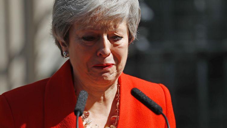 Theresa May annonce la date de sa démission, depuis Londres (Royaume-Uni), le 24 mai 2019. (TOLGA AKMEN / AFP)