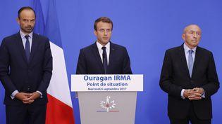 Le président de la République, Emmanuel Macron, le Premier ministre, Edouard Philippe et le ministre de l'Intérieur, Gérard Collomb, en conférence de presse, à Paris, mercredi 6 septembre 2017. (AFP)