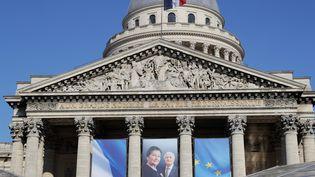 Simone Veil fera son entrée au Panthéon, aux côtés de son mari, dimanche 1er juillet. (THOMAS SAMSON / AFP)