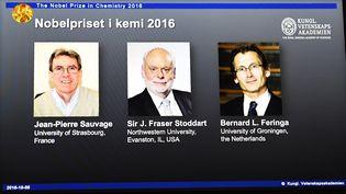 Le portrait des trois lauréats du prix Nobel de chimie, présenté, le 5 octobre 2016, à Stockholm (Suède). (JONATHAN NACKSTRAND / AFP)