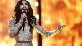 Conchita Wurst, candidate travestie de l'Autriche, répète pour la finale de l'Eurovision, le 9 mai 2014 à Copenhague (Danemark). (VLADIMIR ASTAPKOVICH / RIA NOVOSTI / AFP)