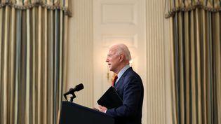 Le président américain Joe Biden donne une conférence de presse à la Maison Blanche, à Washington, le 23 mars 2021. (CHIP SOMODEVILLA / GETTY IMAGES NORTH AMERICA / AFP)