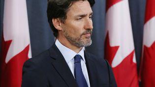 Le Premier ministre canadien Justin Trudeau lors d'une conférence de presse, à Ottawa (Canada), le 8 janvier 2020. (DAVE CHAN / AFP)