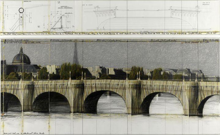 """""""The Pont-Neuf Wrapped (Project for Paris), 1985 [Le Pont-Neuf empaqueté (Projet pour Paris)], Collection de l'artiste (© Christo 1985 Photo © Centre Pompidou, Philippe Migeat)"""