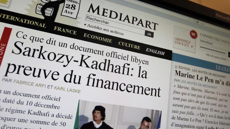 """Capture d'écran de la page d'accueil du site """"Mediapart"""" le 28 avril 2012. (KENZO TRIBOUILLARD / AFP)"""