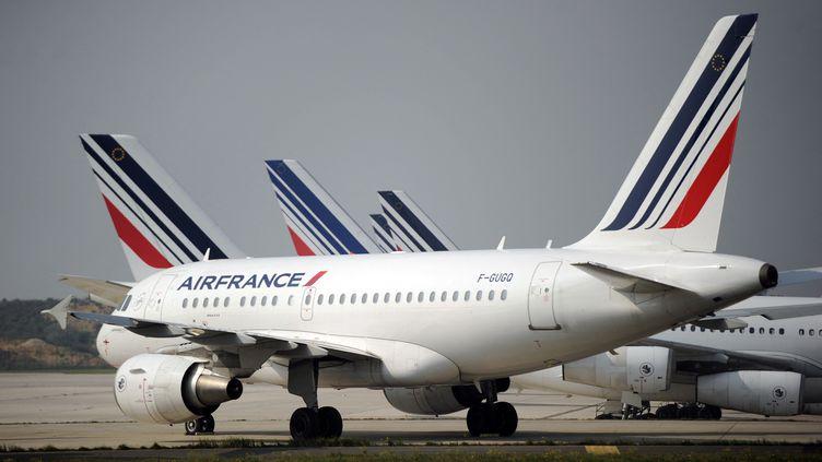 Des avions d'Air France sur le tarmac de l'aéroport de Roissy-Charles de Gaulle. Photo d'illustration. (STEPHANE DE SAKUTIN / AFP)