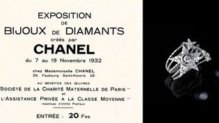 "Carton d'invitation pour l'exposition ""Bijoux de Diamants"" + Bracelet étoile filante, collection ""1932""  (Chanel)"