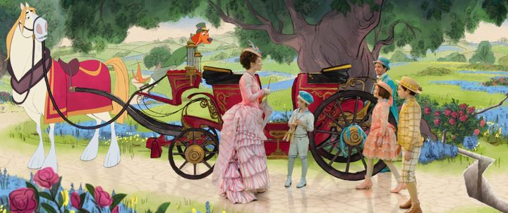"Emily Blunt, Joel Dawson, Lin-Manuel Miranda, Nathanael Saleh, Pixie Davies dans ""Le Retour de Mary Poppins"" deRob Marshall  ( 2017 Disney Enterprises, Inc. All rights reserved. )"