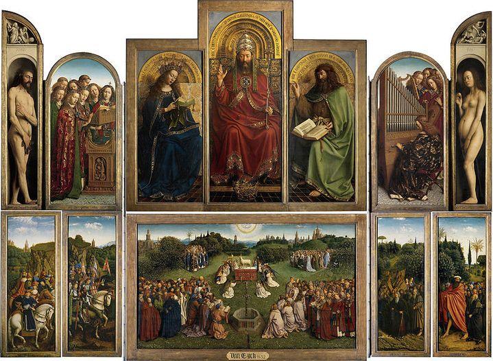 """L'ensemble du retable de """"L'Agneau mystique"""" (1432) (Web Gallery of Art / Wikipedia)"""