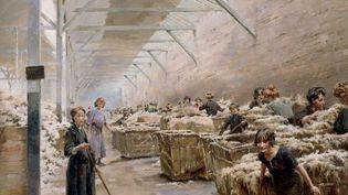 Ferdinand Joseph Gueldry, scène de triage de la laine à Roubaix, vers 1910 (Normandie impressionniste)