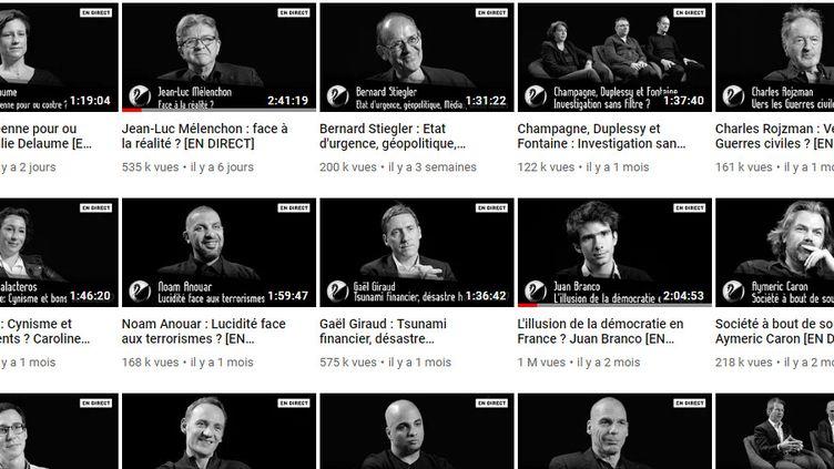 Jean-Luc Mélenchon, Juan Branco ou encore Aymeric Caron font partie des derniers invités de Thinkerview, comme le montre cette capture d'écran de la page YouTube de Thinkerview, le 13 mai 2019. (THINKERVIEW / YOUTUBE / FRANCEINFO)