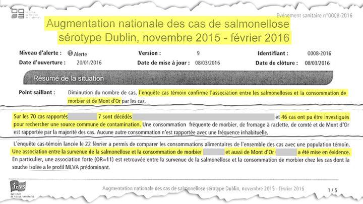 Note confidentielle de l'Institut de veille sanitaire affirme le lien entre la consommation de ces fromages et les cas de salmonellose (DR)