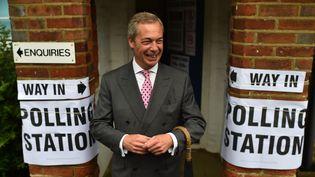 Nigel Farage, leader du parti Ukip, à la sortie du bureau de vote, le 23 juin 2016, à Londres. (BEN STANSALL / AFP)